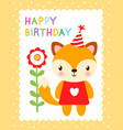 cute with a fox vector image vector image