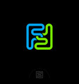 f double monogram green blue lines vector image vector image