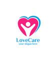 family care logo icon design love family logo vector image