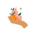 female hand holding different fruits orange vector image