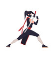 female japanese warrior ninja or samurai brave vector image