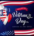 happy veterans day usa lettering banner vector image vector image