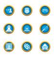 heist icons set flat style vector image
