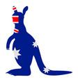 kangaroo silhouette with the flag of australia vector image