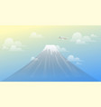 landscape mountain fuji view with airplane famous vector image