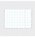 lined paper piece of paper from notebook vector image vector image