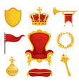 Monarchy symbol set royalty and authority wealth