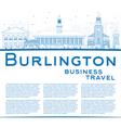Outline Burlington Vermont City Skyline vector image vector image