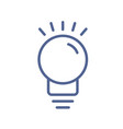 outlined light bulb icon in line art style vector image