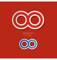 Paper Infinity Symbols on Red Background vector image vector image