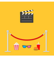 red rope popcorn soda hamburger glasses clapping vector image