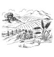 rural landscape in graphical style vector image vector image