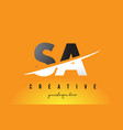 sa s a letter modern logo design with yellow vector image vector image