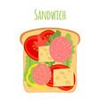 sandwichtomatopeppercheesesalad toast vector image vector image