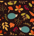 seamless pattern with hedgehog and autumn elements vector image vector image