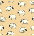 seamless stylized colorful sheep herd pattern vector image