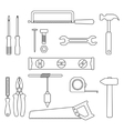 set of black outline tools vector image