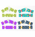 set of colorful christmas cracker wrappings on vector image