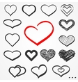 Sketch hearts set vector image vector image