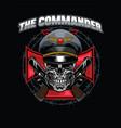 skull commander design vector image vector image