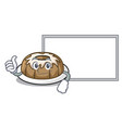 thumbs up with board bundt cake character cartoon vector image vector image