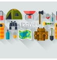 Tourist seamless pattern with camping equipment in vector image