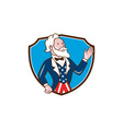 Uncle Sam Waving Hand Crest Cartoon vector image vector image
