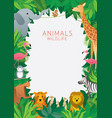 wild animals in jungle frame vector image