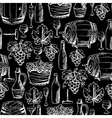 Wine seamless pattern drawn by chalk vector image vector image