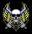 wing skull cartoon vector image vector image