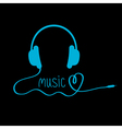 Blue headphones with cord and word Music vector image vector image
