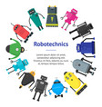 cartoon cute toy robots banner card circle vector image