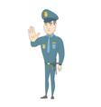 caucasian policeman showing stop hand gesture vector image vector image