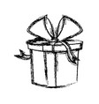 christmas gift box wrapped ribbon bow vector image vector image
