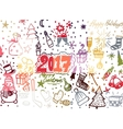 Christmas hand drawn cute doodles stickers vector image vector image
