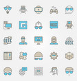 colorful geek icons set vector image