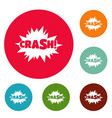 comic boom crash icons circle set vector image