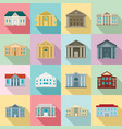 courthouse icons set flat style vector image vector image