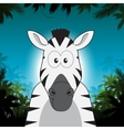 Cute cartoon zebra in front of jungle background vector image vector image