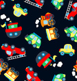 Cute little vehicles in a seamless pattern vector image vector image
