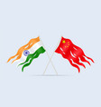 damaged flag india and china a symbol conflict vector image vector image