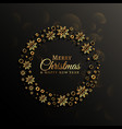 dark background with golden snowflakes decoration vector image