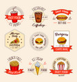 fast food restaurant menu icons vector image vector image