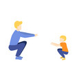 flat man and boy kid doing squat exercises vector image