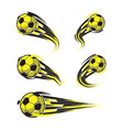 football yellow black soccer symbols set vector image vector image