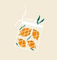 funny lemons in reusable mesh shopping bag vector image