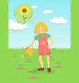 girl watering sunflower flower garden vector image