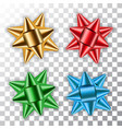 gold blue red green bow 3d ribbons set decor vector image