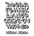 graffiti alphabet 3d- hand written - font vector image vector image