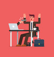 hacker holding gun pointing to businessman vector image vector image